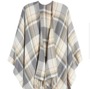 Jackets & Blazers - NWT Plaid Cape with fringe  one size